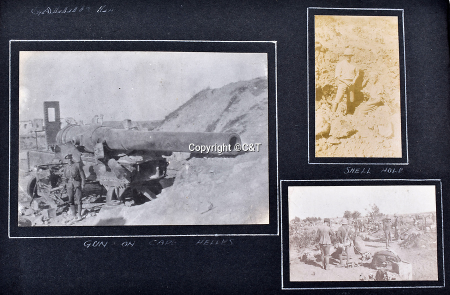 BNPS.co.uk (01202 558833)<br /> Pic: C&T/BNPS<br /> <br /> Huge gun on Cape Helles and Speight poses in a shell hole near Gallipoli.<br /> <br /> Never before seen photos of the disastrous Gallipoli campaign have come to light over a century later.<br /> <br /> The fascinating snaps were taken by Sub Lieutenant Gilbert Speight who served in the Royal Naval Air Service in World War One.<br /> <br /> They feature in his photo album which covers his eventful war, including a later stint in Egypt.<br /> <br /> There are dramatic photos of the Allies landing at X Beach, as well as sobering images of a mass funeral following the death of 17 Brits. Another harrowing image shows bodies lined up in a mass grave.<br /> <br /> The album, which also shows troops during rare moments of relaxation away from the heat of battle, has emerged for sale with C & T Auctions, of Ashford, Kent. It is expected to fetch £1,500.