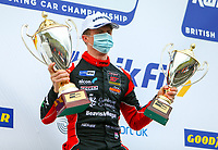 30th August 2020; Knockhill Racing Circuit, Fife, Scotland; Kwik Fit British Touring Car Championship, Knockhill, Race Day; Rory Butcher holds up both trophies after winning round 12 of the BTCC