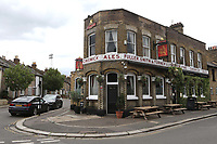 Brentford is famous for being the only football ground in England that has a pub at every corner. The Griffin is a Fuller's pub during Brentford vs Charlton Athletic, Sky Bet EFL Championship Football at Griffin Park on 7th July 2020