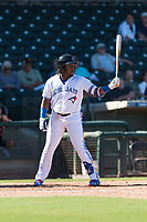 Surprise Saguaros designated hitter Vladimir Guerrero Jr. (27), of the Toronto Blue Jays organization, at bat during an Arizona Fall League game against the Peoria Javelinas at Surprise Stadium on October 17, 2018 in Surprise, Arizona. (Zachary Lucy/Four Seam Images)