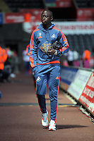 Modou Barrow of Swansea City arrives during the Swansea City FC v Manchester City Premier League game at the Liberty Stadium, Swansea, Wales, UK, Sunday 15 May 2016