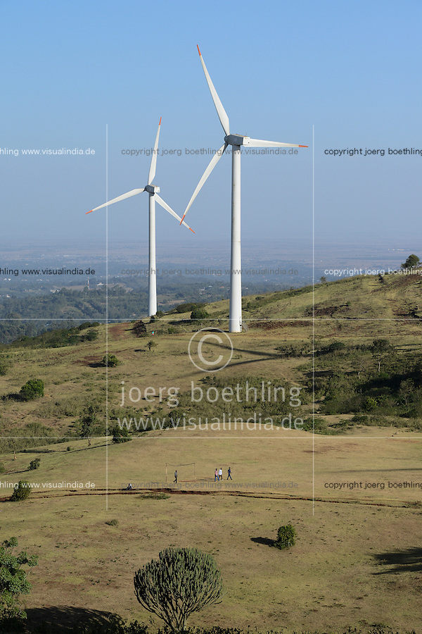 KENYA, Nairobi, Ngong Hills, 25,5 MW Wind Power Station with Vestas and Gamesa wind turbines, owned and operated by KENGEN Kenya Electricity Generating Company / KENIA, Ngong Hills Windpark, Betreiber KenGen Kenya Electricity Generating Company mit Vestas und Gamesa Windkraftanlagen