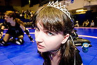 Rolletta Lynn of the Queens of Pain gets ready to clash against the Brooklyn Bombshells at a Gotham Girls Roller Derby bout in New York City on June 2, 2006.