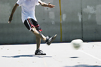 Players practice for the United States Homeless World Cup team in New York City on July 7, 2004.