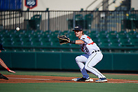 Lakeland Flying Tigers first baseman Chad Sedio (20) during a Florida State League game against the Fort Myers Miracle on August 3, 2019 at Publix Field at Joker Marchant Stadium in Lakeland, Florida.  Lakeland defeated Fort Myers 4-3.  (Mike Janes/Four Seam Images)