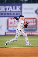 Mobile BayBears second baseman Hutton Moyer (11) throws to first base during a game against the Mississippi Braves on May 7, 2018 at Trustmark Park in Pearl, Mississippi.  Mobile defeated Mississippi 5-0.  (Mike Janes/Four Seam Images)