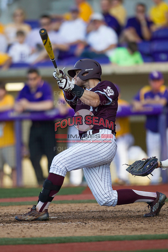 Texas A&M Aggies infielder Logan Taylor (17) swings the bat during the Southeastern Conference baseball game against the LSU Tigers on April 25, 2015 at Alex Box Stadium in Baton Rouge, Louisiana. Texas A&M defeated LSU 6-2. (Andrew Woolley/Four Seam Images)