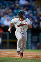 Pawtucket Red Sox catcher Dan Butler (12) runs to first base during a game against the Buffalo Bisons on May 19, 2017 at Coca-Cola Field in Buffalo, New York.  Buffalo defeated Pawtucket 7-5 in thirteen innings.  (Mike Janes/Four Seam Images)