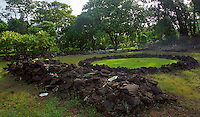 Keaiwa, Hawaiian healing heiau, a 15th century healing temple surrounded by a network of hiking trails in a magical forest, Aiea heights, Oahu