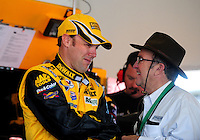 Feb 07, 2009; Daytona Beach, FL, USA; NASCAR Sprint Cup Series driver Matt Kenseth (left) talks with team owner Jack Roush during practice for the Daytona 500 at Daytona International Speedway. Mandatory Credit: Mark J. Rebilas-