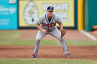 Rome Braves first baseman Bryce Ball (12) on defense against the Greensboro Grasshoppers at First National Bank Field on May 16, 2021 in Greensboro, North Carolina. (Brian Westerholt/Four Seam Images)