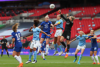 29th August 2020; Wembley Stadium, London, England; Community Shield Womens Final, Chelsea versus Manchester City; Sam Mewis of Manchester City Women punches the ball clear away from Bethany England of Chelsea Women