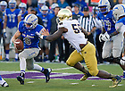 Oct. 26, 2013; Air Force Falcons quarterback Nate Romine (6) runs the ball as Notre Dame Fighting Irish linebacker Prince Shembo (55) prepares to tackle in the third quarter.