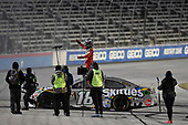 #18: Kyle Busch, Joe Gibbs Racing, Toyota Camry Skittles Zombie, celebrates after winning the Speedycash.com 400 at Texas Motor Speedway,