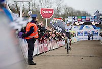 race winner Sven Nys (BEL) has put about a minute into the competition and therefore has plenty of time to salute the home crowd<br /> <br /> GP Sven Nys 2014