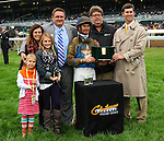 """October 03, 2015: Brody's Cause and jockey Corey Lanerie win the 102nd running of the Claiborne Breeders' Futurity (Grade 1) $500,000 """"Win and You're In Juvenile Division"""" for trainer Dale Romans, and owner Albaugh Family Stable. Samantha Busanich/ESW/Cal Sport Med"""