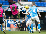 St Johnstone v Dundee…11.03.17     SPFL    McDiarmid Park<br />Paul McGowan puts a high boot in on Paul Paton<br />Picture by Graeme Hart.<br />Copyright Perthshire Picture Agency<br />Tel: 01738 623350  Mobile: 07990 594431