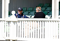 Jordan Cox (L) of Kent in discussion with Director of Cricket Paul Downton during Kent CCC vs Lancashire CCC, LV Insurance County Championship Group 3 Cricket at The Spitfire Ground on 24th April 2021