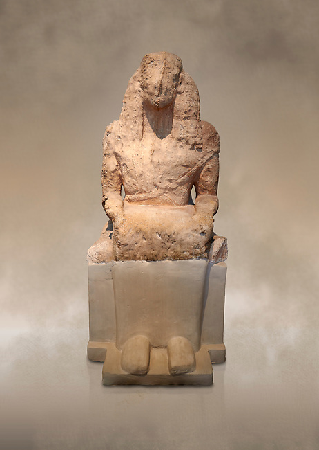 Stone archaic ancient Greek statue of a seated goddess, found at Aghiorghitika, circa 630 BC.  Athens National Archaeological Museum cat no 57.<br /> <br /> The seated figure could be a goddess or a mortal and she wears a chiton and mantle. The hairstyle is typical of the Daedalic style.