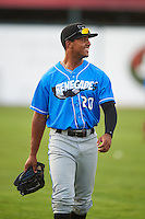 Hudson Valley Renegades outfielder Garrett Whitley (20) before a game against the Vermont Lake Monsters on September 3, 2015 at Centennial Field in Burlington, Vermont.  Vermont defeated Hudson Valley 4-1.  (Mike Janes/Four Seam Images)