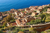 Arial view of Monemvasia (  ) Byzantine Island catsle town with acropolis on the plateau.   Peloponnese, Greece