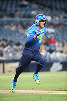 Tyler Freeman (15) of the West Team runs to first base during a game against the East Team during the Perfect Game All American Classic at Petco Park on August 14, 2016 in San Diego, California. West Team defeated the East Team, 13-0. (Larry Goren/Four Seam Images)