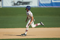 Michael Turconi (4) (Wake Forest) of the High Point-Thomasville HiToms hustles towards third base against the Martinsville Mustangs at Finch Field on July 26, 2020 in Thomasville, NC.  The HiToms defeated the Mustangs 8-5. (Brian Westerholt/Four Seam Images)