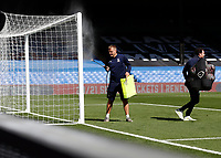 5th September 2020; Selhurst Park, London, England; Pre Season Friendly Football, Crystal Palace versus Brondby; A grounds keeper spraying the goal post before kick off