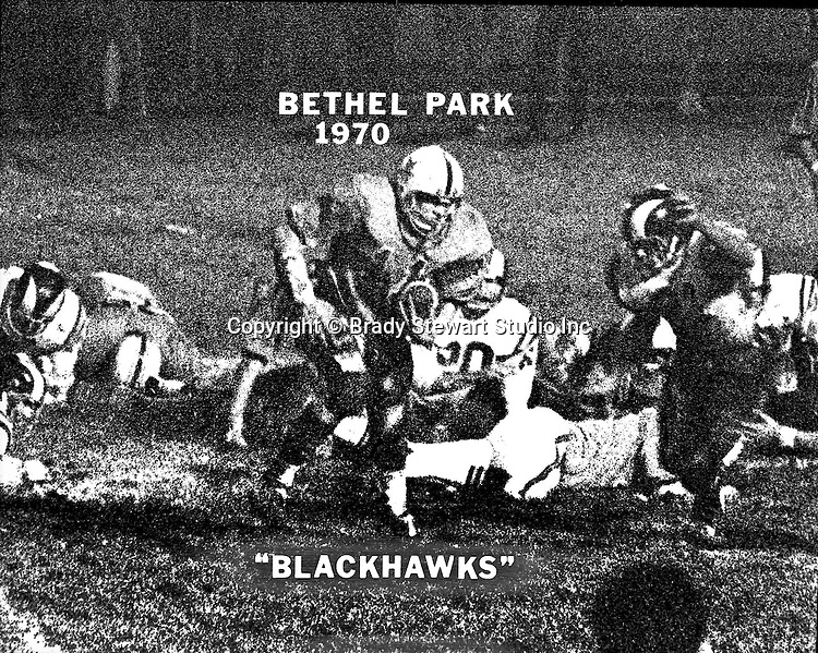 Bethel Park PA:  Poster Brady Stewart Jr created from one of the photographs taken during the Bethel Park vs Mt Lebanon football game in 1970.