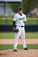Clinton LumberKings starting pitcher Nick Wells (18) looks in for the sign during a game against the Lansing Lugnuts on May 9, 2017 at Ashford University Field in Clinton, Iowa.  Lansing defeated Clinton 11-6.  (Mike Janes/Four Seam Images)
