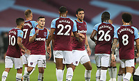 West Ham United's Sebastien Haller is congratulated after scoring his side's first goal<br /> <br /> Photographer Rob Newell/CameraSport<br /> <br /> Carabao Cup Second Round Northern Section - West Ham United v Charlton Athletic - Tuesday 15th September 2020 - London Stadium - London <br />  <br /> World Copyright © 2020 CameraSport. All rights reserved. 43 Linden Ave. Countesthorpe. Leicester. England. LE8 5PG - Tel: +44 (0) 116 277 4147 - admin@camerasport.com - www.camerasport.com