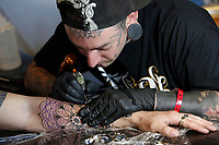 Marco Bordi<br /> Roma 05/05/2017. Palazzo delle Esposizioni. International Tattoo Expo 2017. La manifestazione accoglie alcuni tra i più' grandi tatuatori provenienti da tutto il mondo.<br /> Rome May 5th 2017. International Tattoo Expo 2017. The meeting gathers some of the most famous tattoo artists from all over the world.<br /> Foto Samantha Zucchi Insidefoto