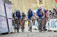 Matteo Trentin (ITA/QuickStep Floors), Tom Boonen (BEL/Quick-Step Floors) & Arnaud Démare (FRA/FDJ) up the Paterberg<br /> <br /> 101th Ronde Van Vlaanderen 2017 (1.UWT)<br /> 1day race: Antwerp › Oudenaarde - BEL (260km)