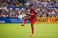 Peguy Luyindula (8) of Paris Saint-Germain. Chelsea FC and Paris Saint-Germain played to a 1-1 tie during a 2012 Herbalife World Football Challenge match at Yankee Stadium in New York, NY, on July 22, 2012.