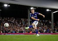 21st September 2021; Craven Cottage, Fulham, London, England; EFL Cup Football Fulham versus Leeds; Joe Gelhardt of Leeds United taking a penalty during the penalty shootout