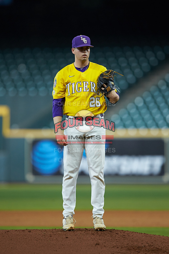 LSU Tigers starting pitcher AJ Labas (26) looks to his catcher for the sign against the Oklahoma Sooners in game seven of the 2020 Shriners Hospitals for Children College Classic at Minute Maid Park on March 1, 2020 in Houston, Texas. The Sooners defeated the Tigers 1-0. (Brian Westerholt/Four Seam Images)