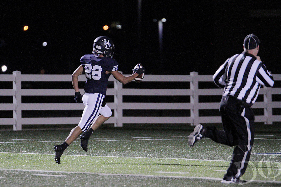 Har-Ber Wildcats Senior Jamarcus Alvis (28) catch a pass for a touch down during the first round play-off game against the Fort Smith Northside Grizzlies Friday, November 13, 2020, at Wildcat Stadium, Springdale, Arkansas (Special to NWA Democrat-Gazette/Brent Soule)