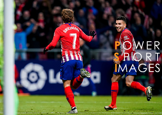 Antoine Griezmann of Atletico de Madrid celebrates scoring the goal during the La Liga 2018-19 match between Atletico de Madrid and RCD Espanyol at Wanda Metropolitano on December 22 2018 in Madrid, Spain. Photo by Diego Souto / Power Sport Images
