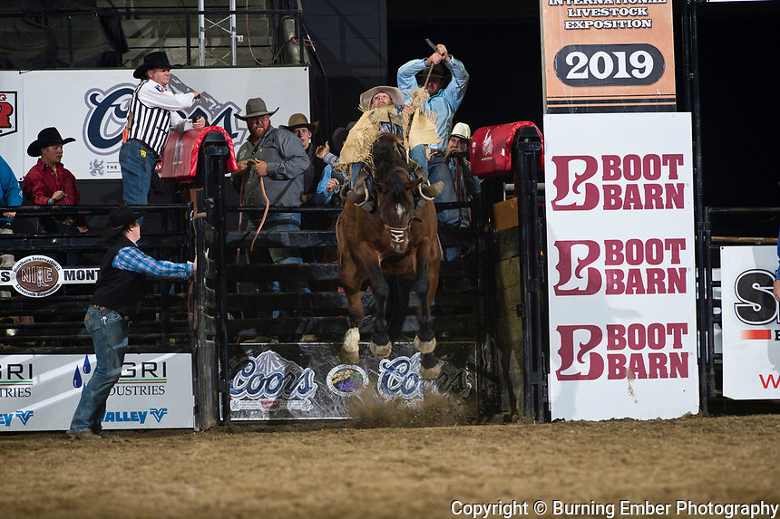 Sam Harper on Rich N Fancy of Powder River Rodeo at the NILE Rodeo 3rd Perf Oct 19th, 2019.  Photo by Josh Homer/Burning Ember Photography.  Photo credit must be given on all uses.