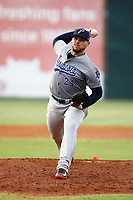Rookie Davis (24) of the MLB Cincinnati Reds pitches during a rehab assignment with the Pensacola Blue Wahoo against the Chattanooga Lookouts on July 27, 2018 at AT&T Field in Chattanooga, Tennessee. (Andy Mitchell/Four Seam Images)