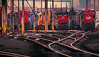 Southern Pacific Locomotives on ready-track getting ready for service. Houston Texas USA Hardy Street Engine Facility.