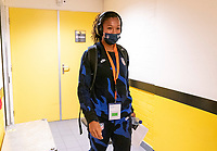 BREDA, NETHERLANDS - NOVEMBER 27: Margaret Purce #14 of the USWNT arrives at the stadium before a game between Netherlands and USWNT at Rat Verlegh Stadion on November 27, 2020 in Breda, Netherlands.