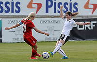 20180302 - LARNACA , CYPRUS : Austrian Sarah Zadrazil (r) pictured in duel with Czech Katerina Svitkova during a women's soccer game between Austria and Czech Republic , on friday 2 March 2018 at the AEK Arena in Larnaca , Cyprus . This is the second game in group B for Austria and Czech Republic during the Cyprus Womens Cup , a prestigious women soccer tournament as a preparation on the World Cup 2019 qualification duels. PHOTO SPORTPIX.BE | DAVID CATRY
