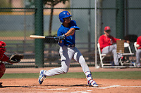 Chicago Cubs infielder Fabian Pertuz (12) at bat during an Extended Spring Training game against the Los Angeles Angels at Sloan Park on April 14, 2018 in Mesa, Arizona. (Zachary Lucy/Four Seam Images)