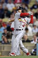 Shane Robinson #43 of the St.Louis Cardinals bats against the Los Angeles Dodgers at Dodger Stadium on May 18, 2012 in Los Angeles,California. Los Angeles defeated St.Louis 6-5.(Larry Goren/Four Seam Images)