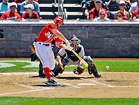 16 June 2012: Washington Nationals outfielder Bryce Harper at bat against the New York Yankees at Nationals Park in Washington, DC. The Yankees defeated the Nationals in 14 innings by a score of 5-3, taking the second game of their 3-game series. Mandatory Credit: Ed Wolfstein Photo