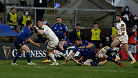 6 March 2021; Ulster's James Hume on the attack is tackled by Leinster's Luke McGrath during  the Guinness PRO14 match between Ulster and Leinster at Kingspan Stadium in Belfast. Photo by John Dickson/Dicksondigital