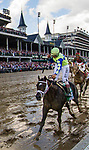 LOUISVILLE, KY - MAY 06: John Velazquez celebrates as he wins the Kentucky Derby at Churchill Downs aboard Always Dreaming #5 on May 6, 2017 in Louisville, Kentucky. (Photo by Alex Evers/Eclipse Sportswire/Getty Images)