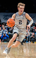 WASHINGTON, DC - FEBRUARY 19: Mac McClung #2 of Georgetown on the attack during a game between Providence and Georgetown at Capital One Arena on February 19, 2020 in Washington, DC.