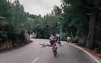 Gregor Mühlberger (AUT/Bora-Hansgrohe) crashed in the race finale (on a slippery descent) right in front of Alejandro Valverde (ESP/Movistar) & Gianluca Brambilla (ITA/Trek-Segafredo)<br /> <br /> Trofeo Lloseta - Andratx: 140km<br /> 27th Challenge Ciclista Mallorca